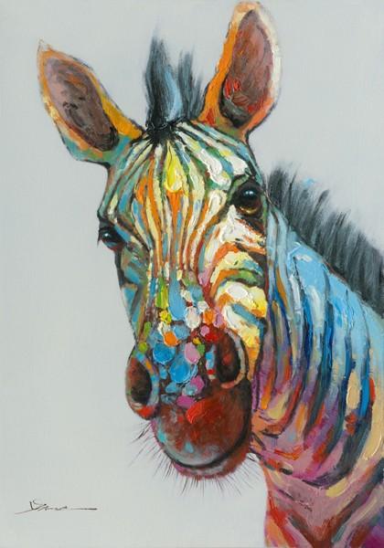 Tableau Zèbre Pop Art 70x100 Peinture Acrylique