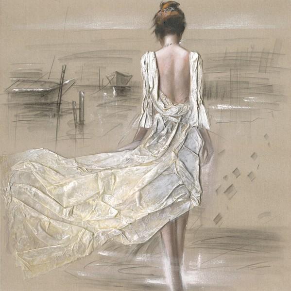 Tableau Femme 100x100 Peint Sur Toile Fibre Naturelle Et Ajout De