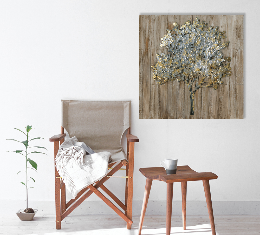 tableau arbre 80x80 ajout l ments m tal en 3d sur bois. Black Bedroom Furniture Sets. Home Design Ideas