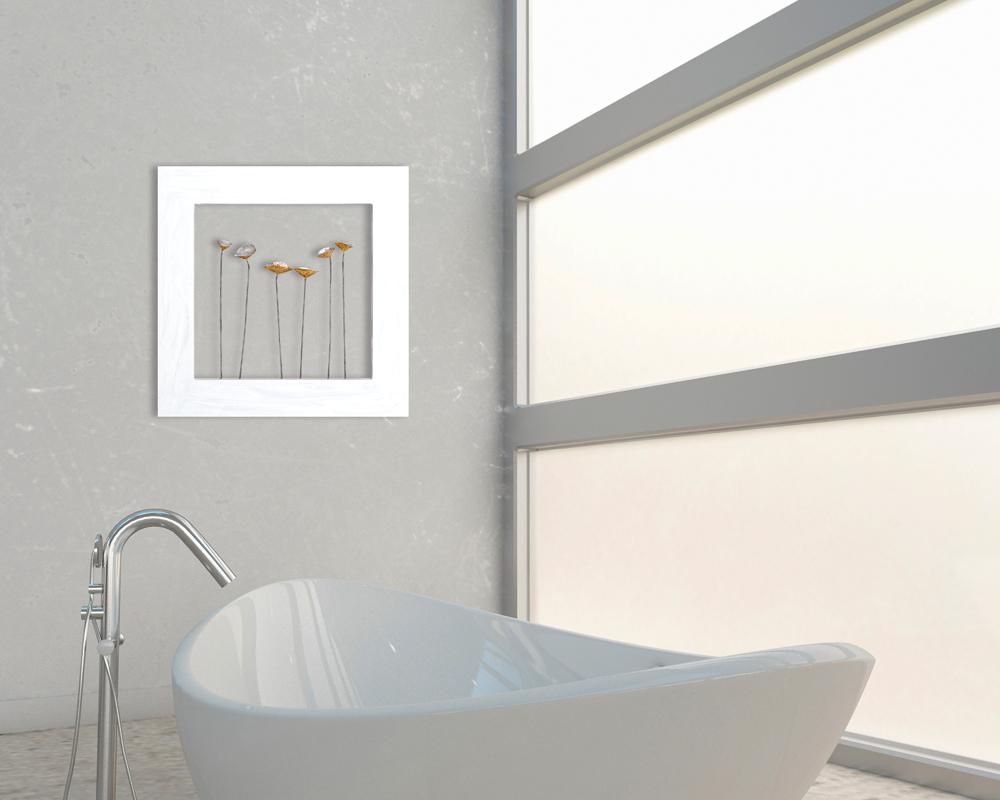 tableau fleurs abstrait 60x60 argent dor peinture. Black Bedroom Furniture Sets. Home Design Ideas