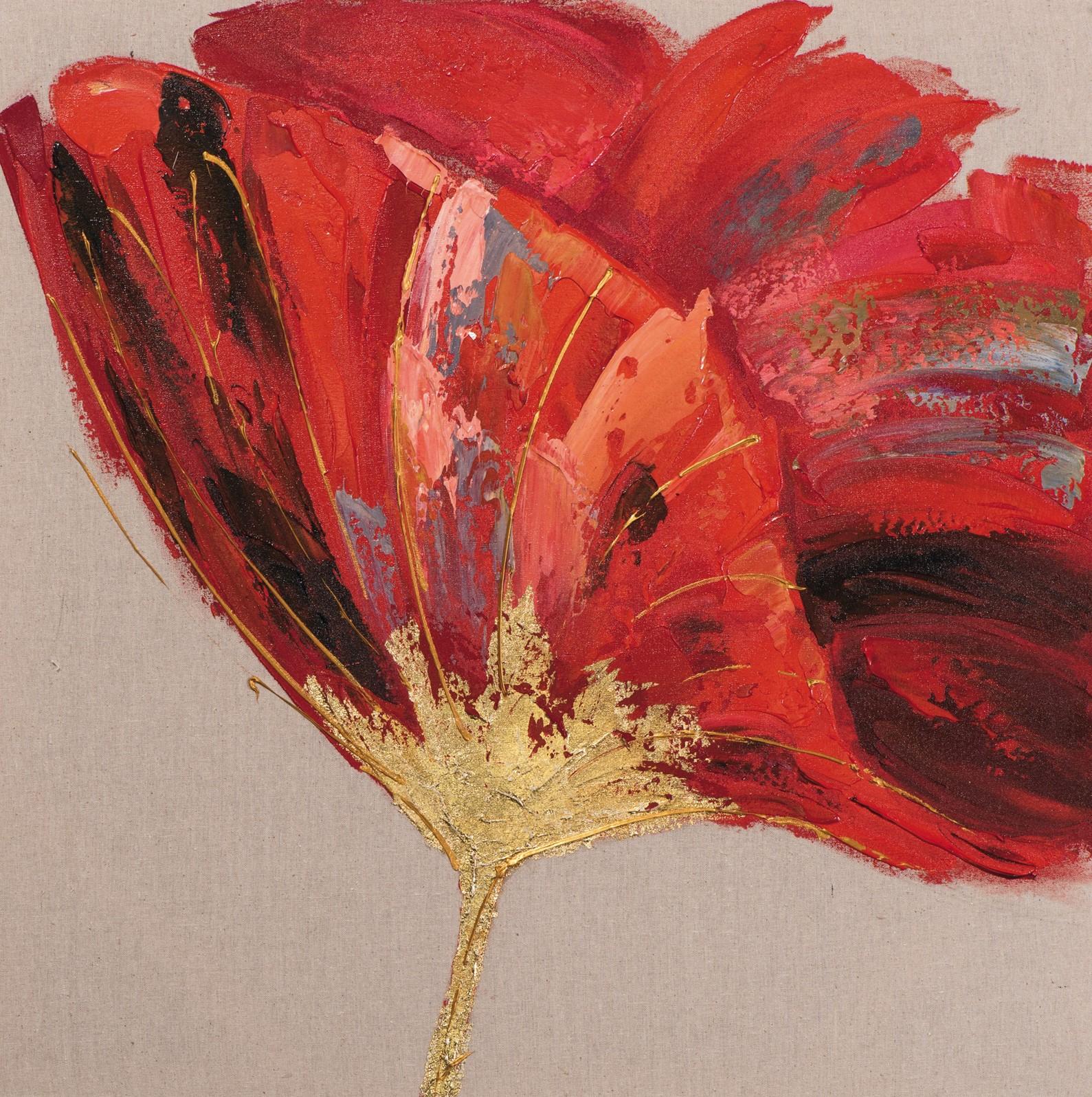 Tableau Fleur 70x70 Doré. Peint sur toile