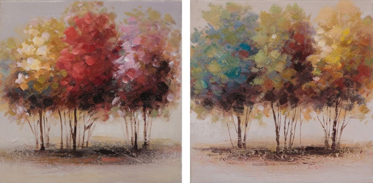 Lot De 2 Tableaux Arbres Abstrait 25x25 Peinture Acrylique