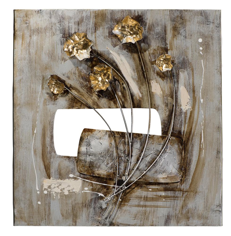 Tableau FLEURS peinture acrylique sur métal et éléments en ...