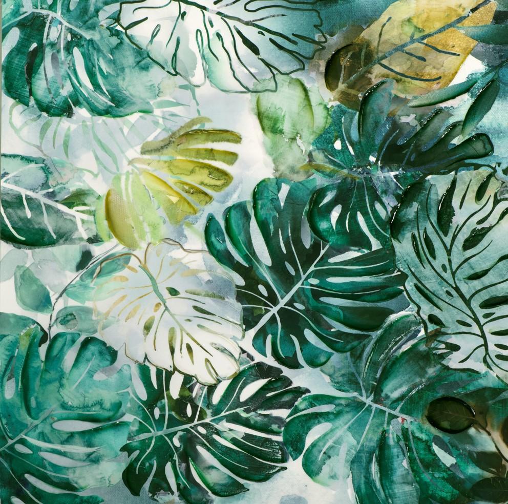 Tableau NATURE Feuilles vert d\'eau tons verts, blancs, beiges, noirs ...