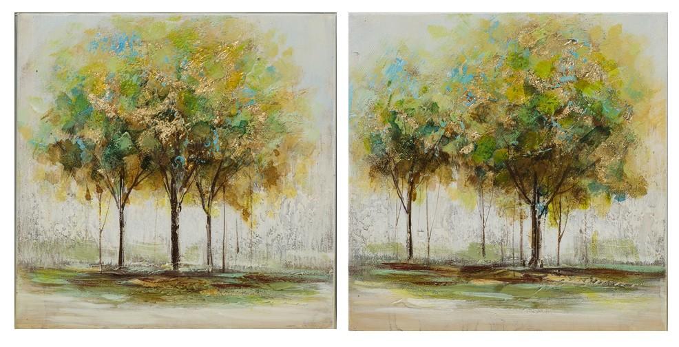 Lot De 2 Tableaux Foret Arbres Peinture Acrylique Et Feuilles Métal