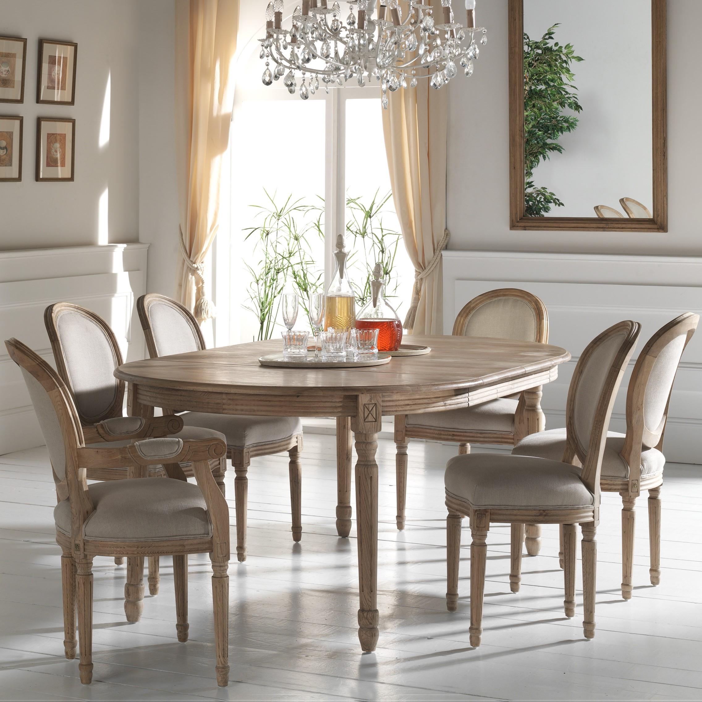 Table à manger extensible Classique chic Chêne massif 120 ...
