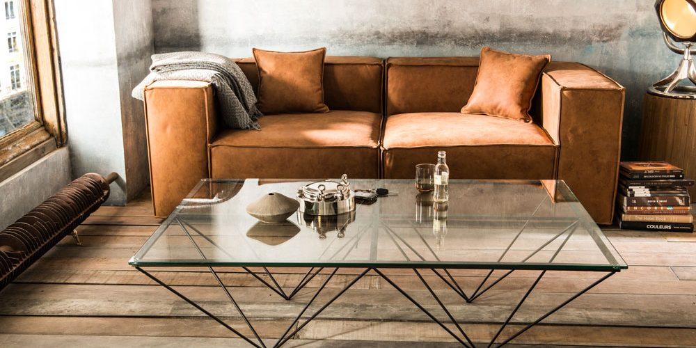 Table D Appoint Bout De Canape Design Verre Et Metal Louvre