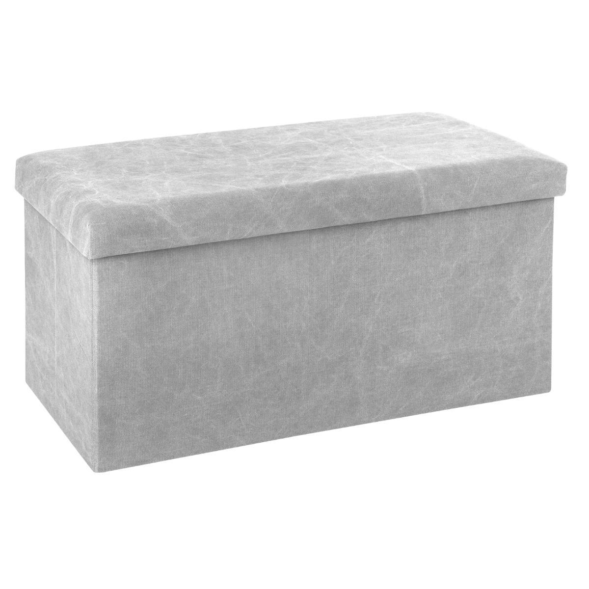 Pouf coffre de rangement pliable gris clair | Poufs | Pier Import