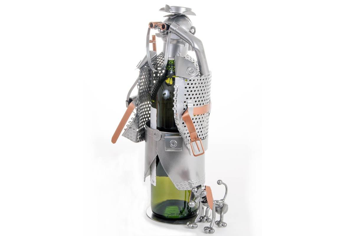 Porte bouteille Chasseur avec chien et fusil