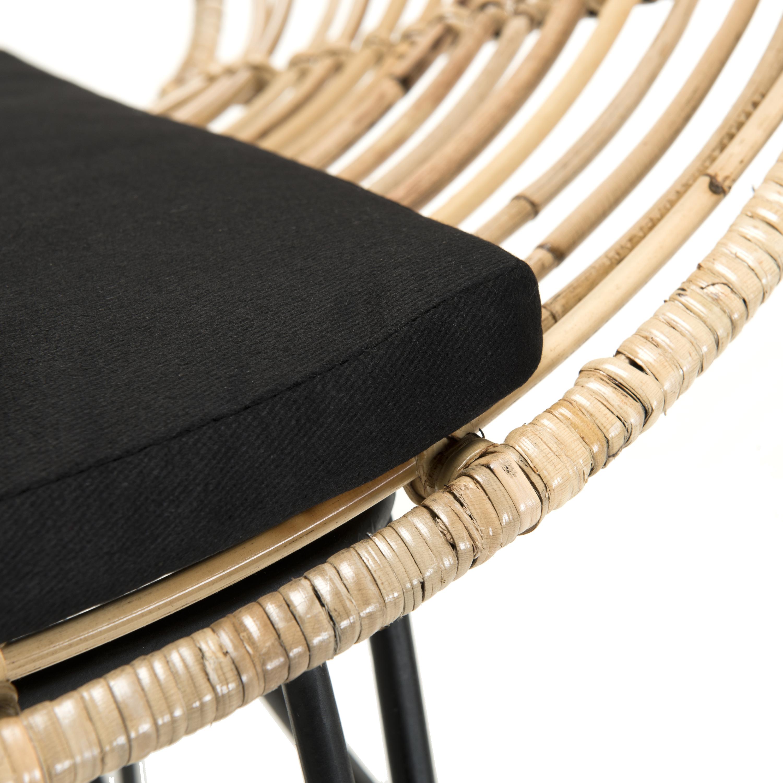 Canapé rotin 2 places ovale coussin noir SUMBA