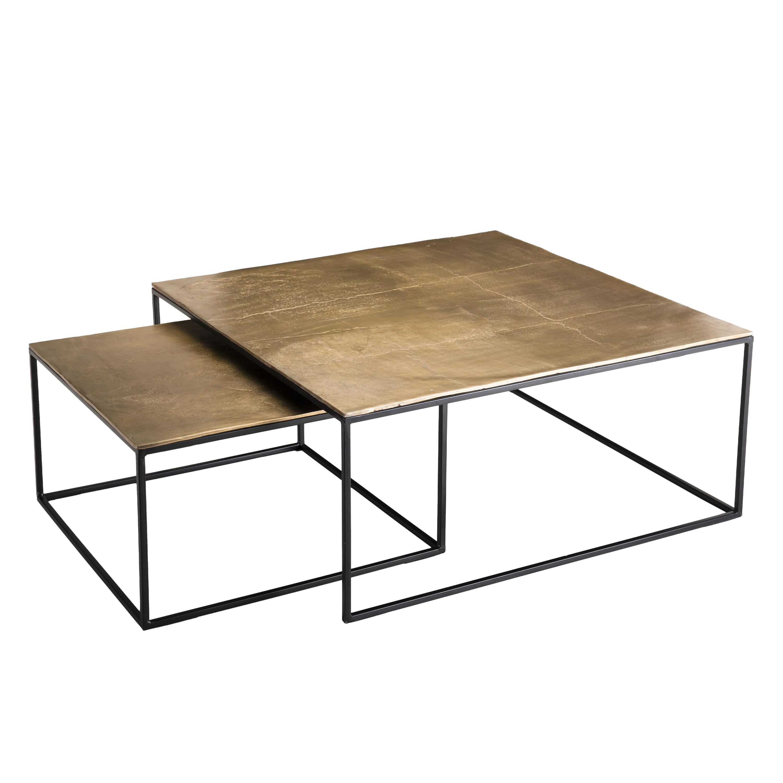 Table Gigogne Carree Doree 2 Pieces Zala Tables Basses