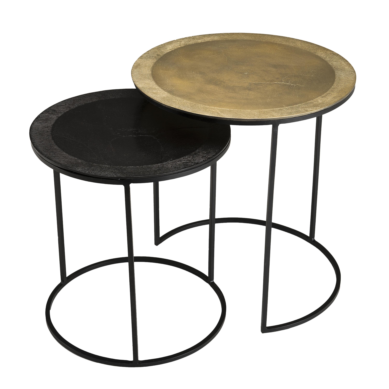 nouveau concept 0382d 180cd Table gigogne ronde noir et or (lot de 2) ZALA