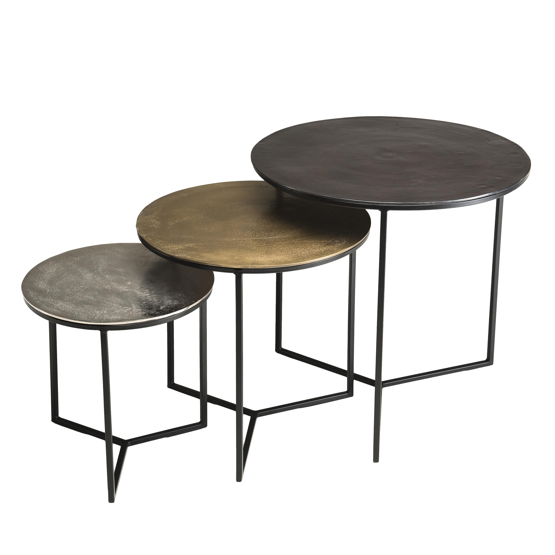 Table Gigogne Ronde Noir Or Argent Lot De 3 Zala Tables Basses