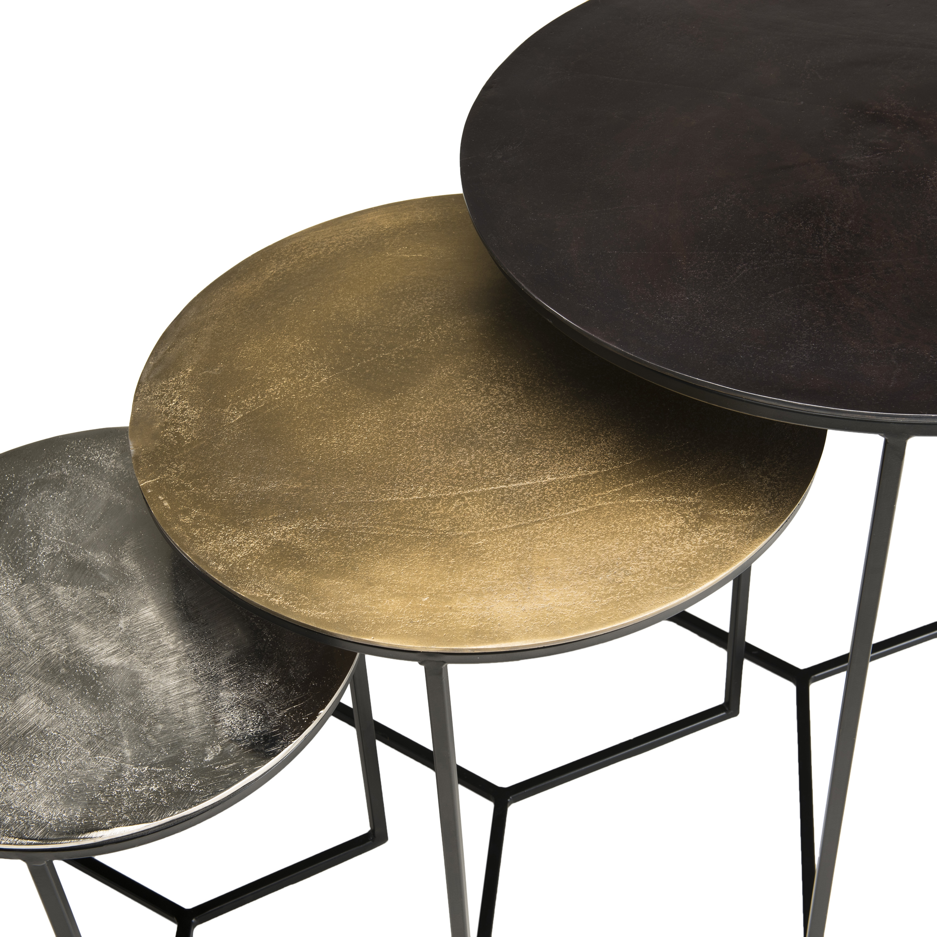 Table Gigogne Ronde Noir Or Argent Lot De 3 Zala Tables Basses