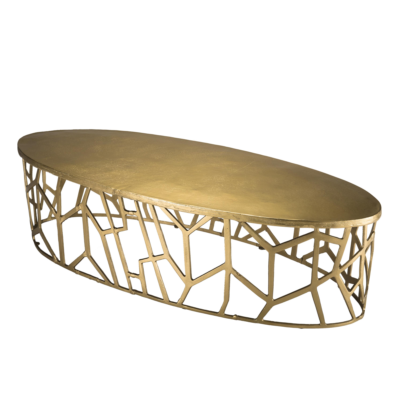 Table Basse Ovale Contemporaine Doree Zala Tables Basses Pier