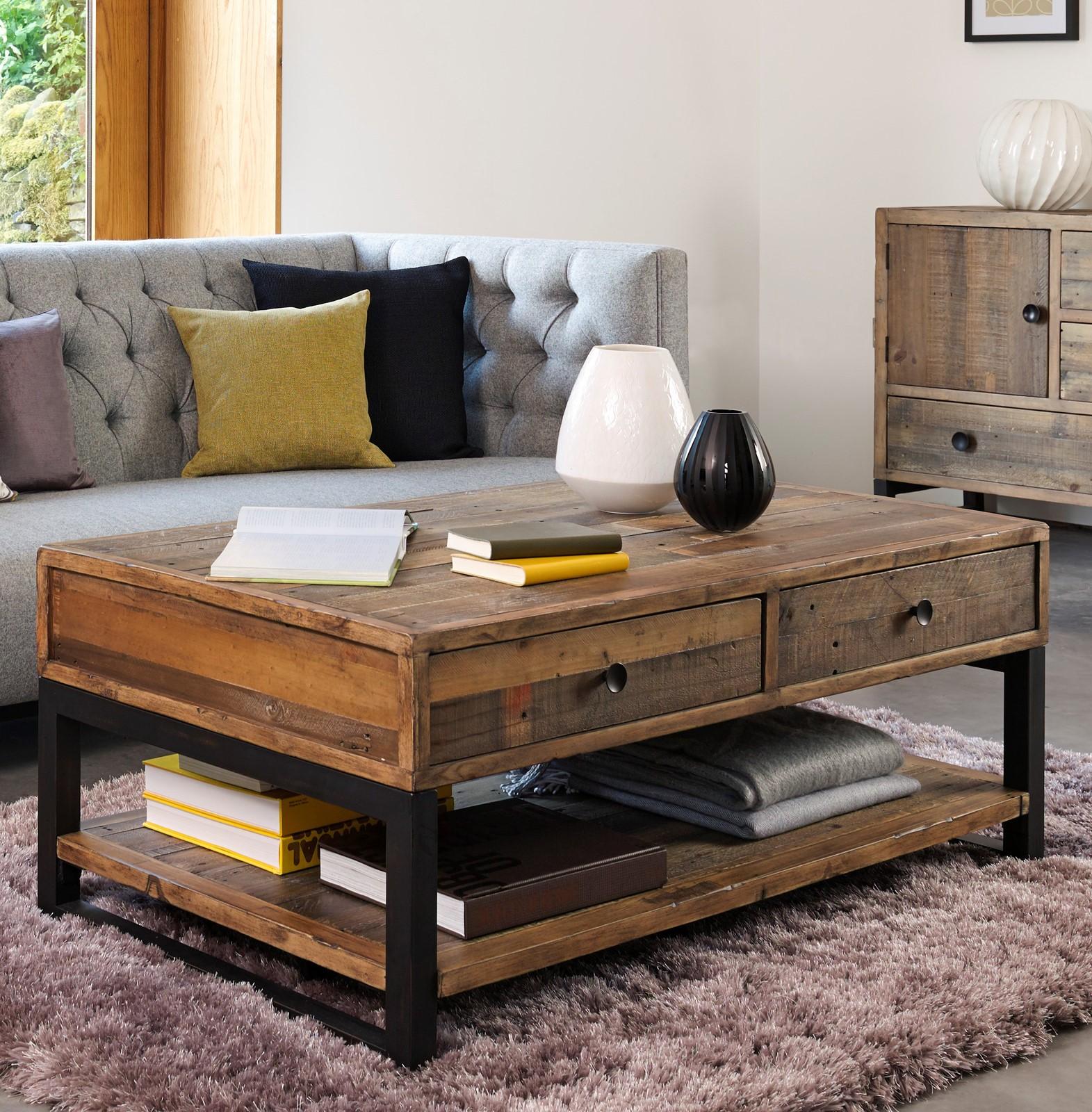 Grande Table Basse Bois table basse bois recyclé double plateau 2 tiroirs brisbane