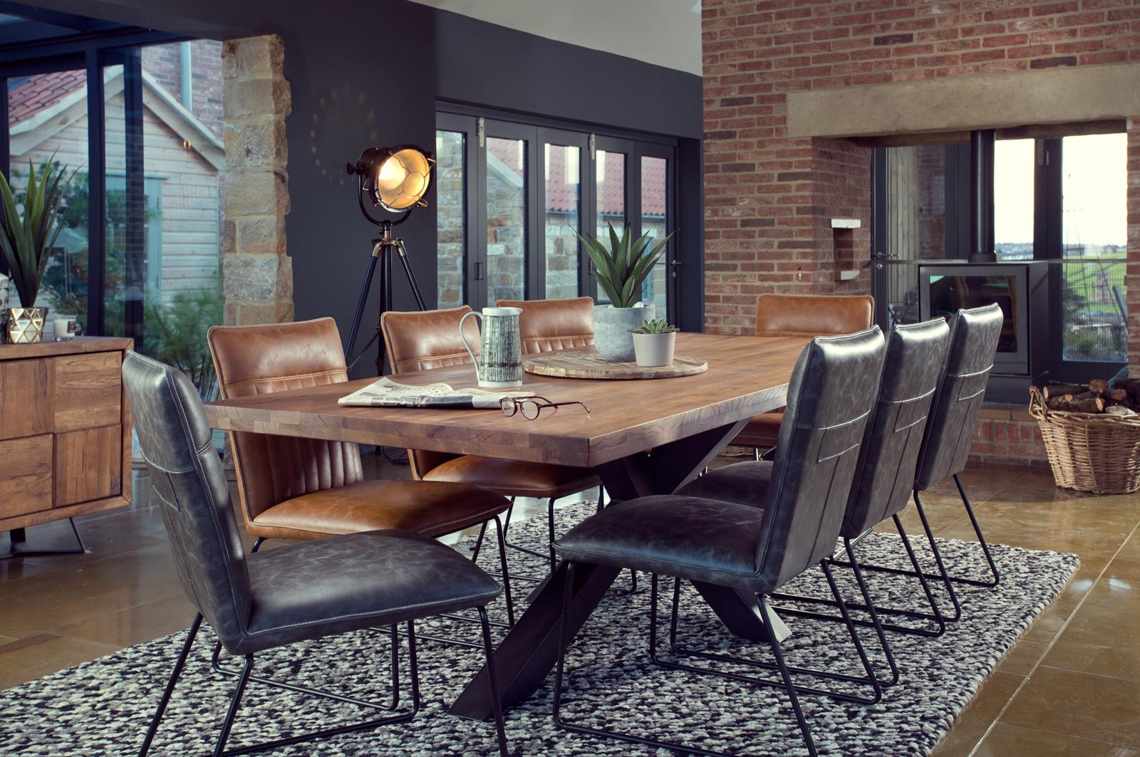 Table salle manger bois m tal pied crois 200 cm oka - Table salle a manger design pied central ...