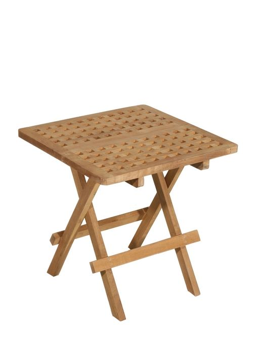Table d\'appoint de jardin en Teck carrée pliante 50cm SUMMER ...