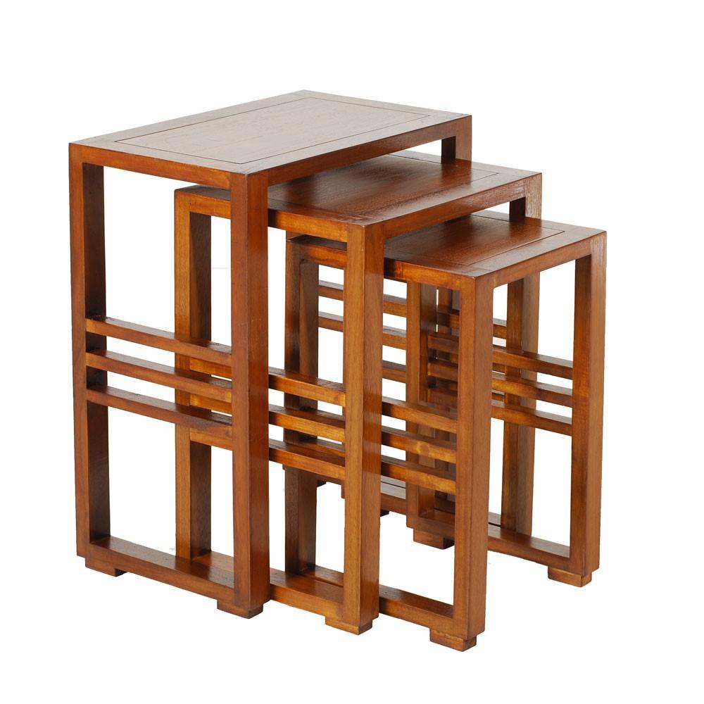 Table Gigogne Bois Style Colonial Lola Lot De 3