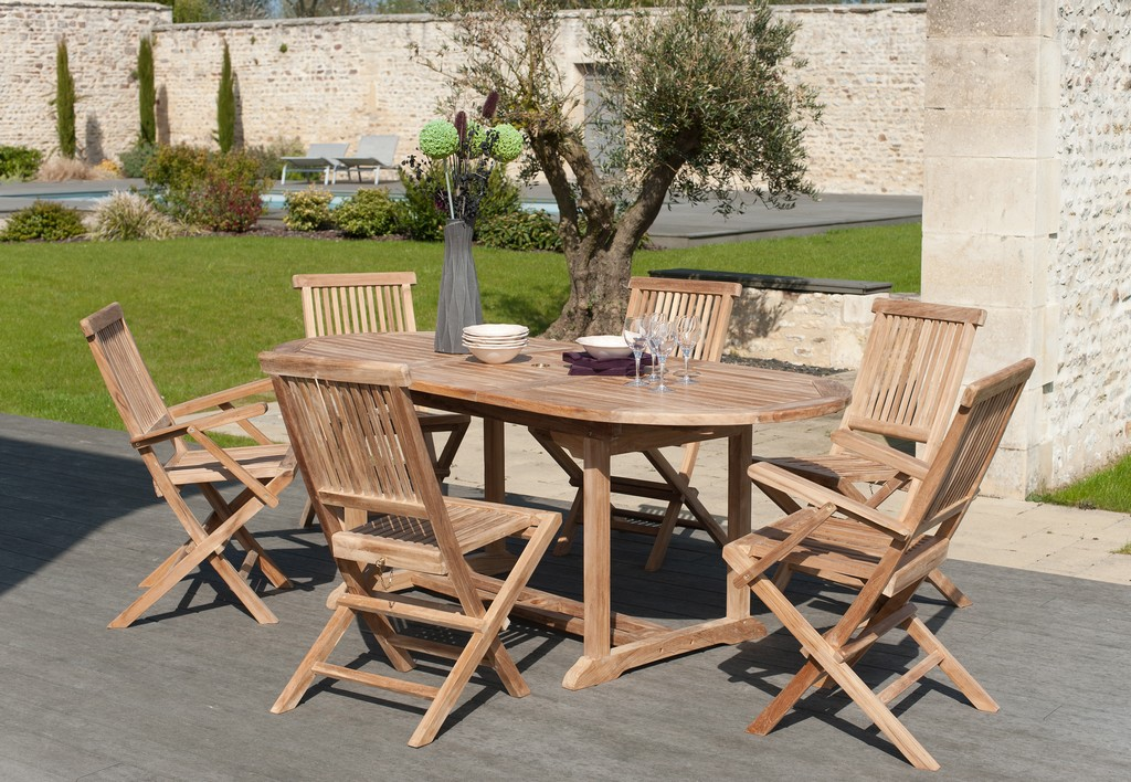 Salon jardin Teck table ovale 150x90cm 4 chaises 2 faut. SUMMER