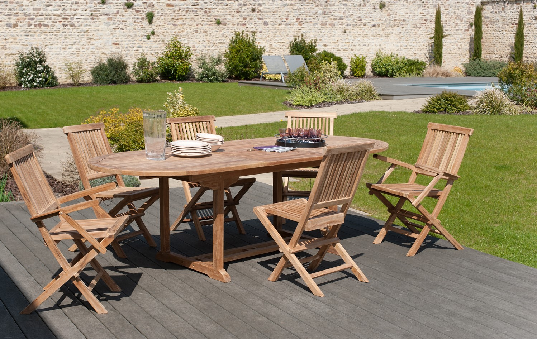 Salon Jardin Teck Table Ovale 180x90cm 4 Chaises 2 Faut Summer