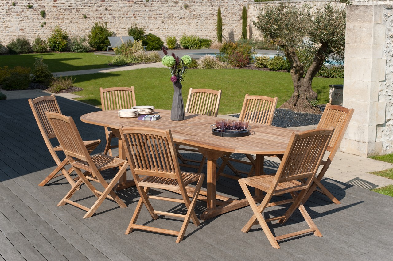 Jardin Summer 8 Ovale En Salon De 200300cm Chaises Teck Table PkOiuXZ
