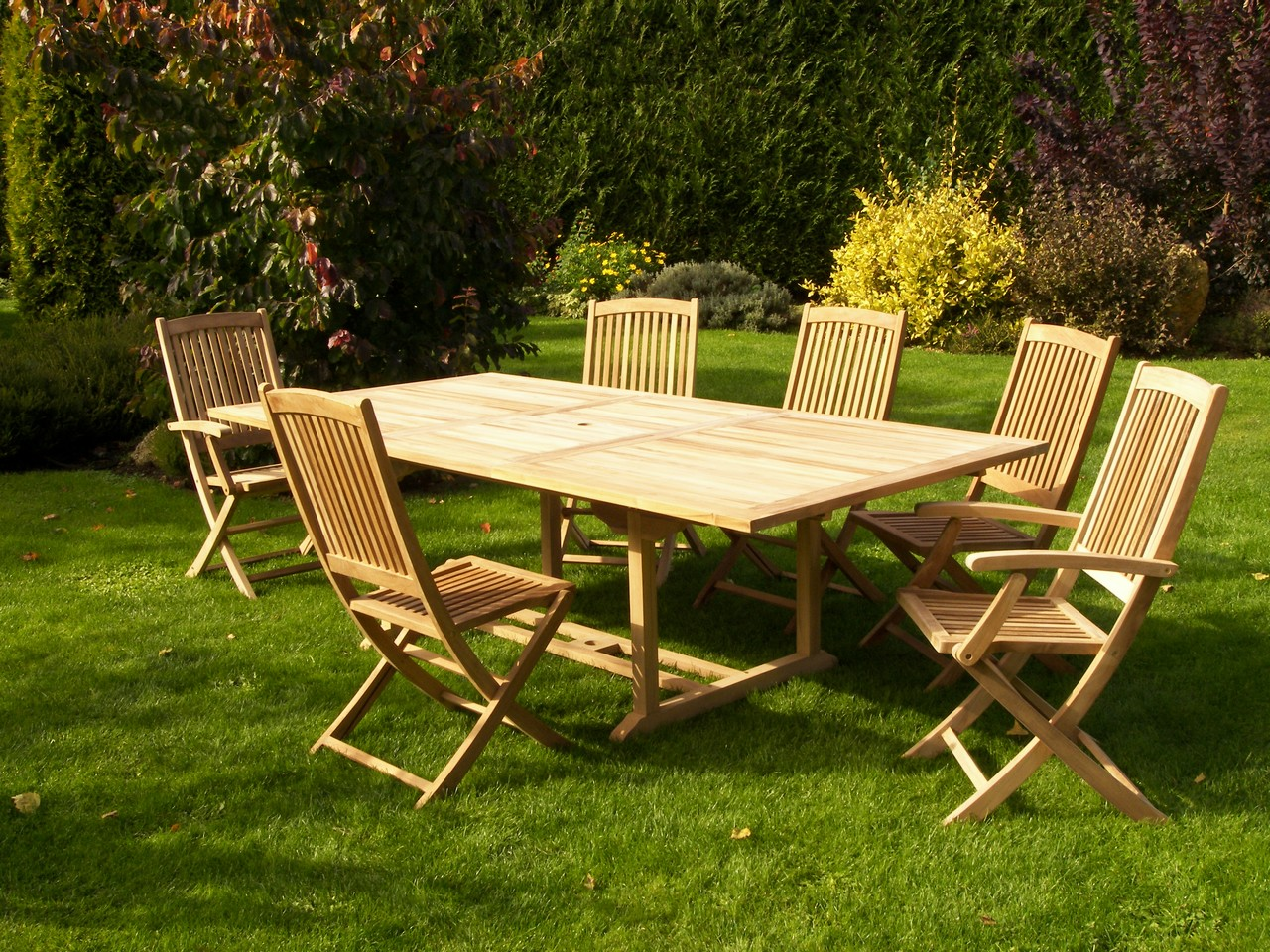 Salon jardin Teck table 180x120cm 4 chaises 2 faut. SUMMER