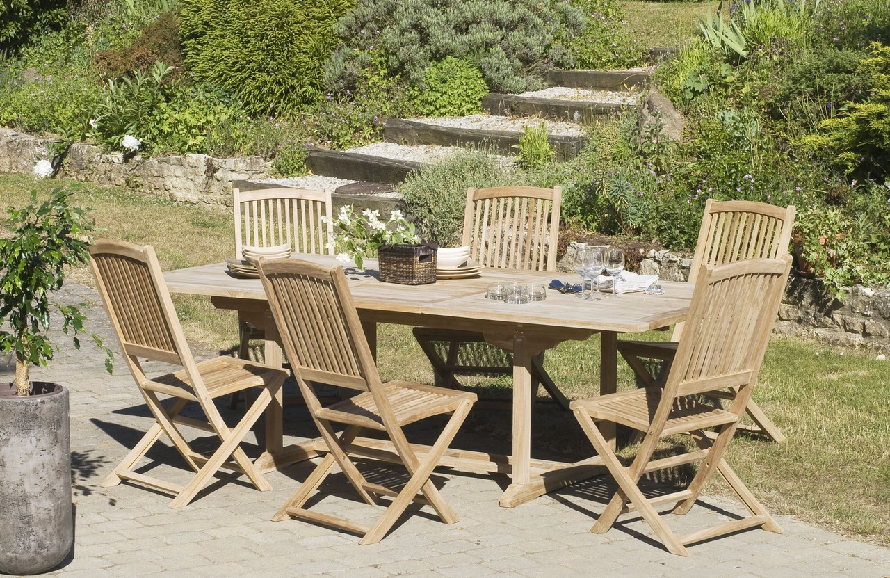 Salon jardin Teck table rectangle 240x120cm 6 chaises SUMMER