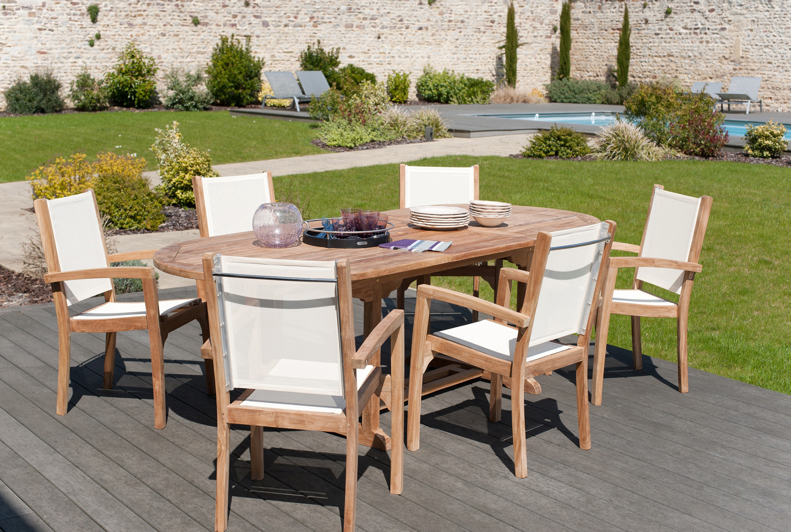 Salon de jardin Teck textile table 180cm 6 fauteuils SUMMER