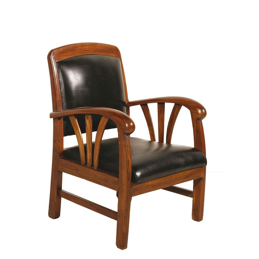plus récent 77491 ae48a Fauteuil exotique bois et cuir noir DIKA