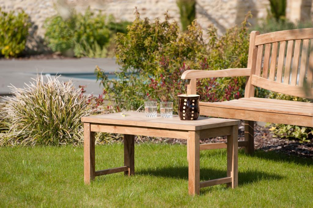Table basse de jardin en Teck brut massif 90cm SUMMER ...
