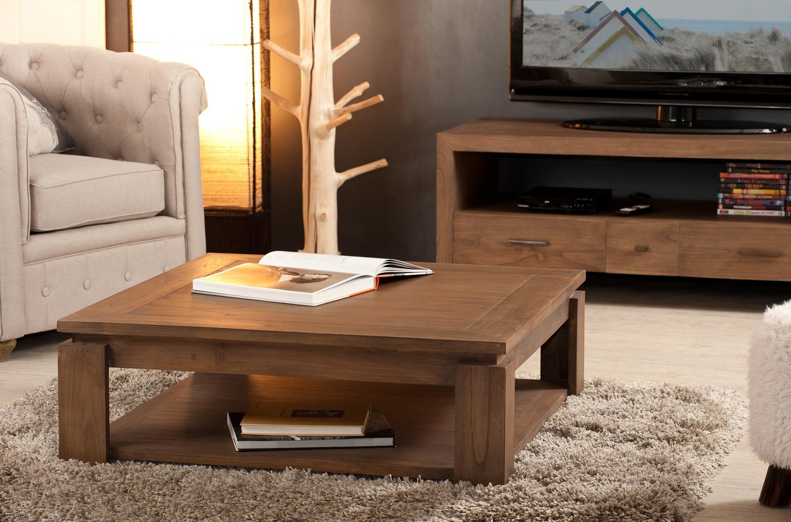 Grande Table Basse Bois table basse carrée bois exotique louna