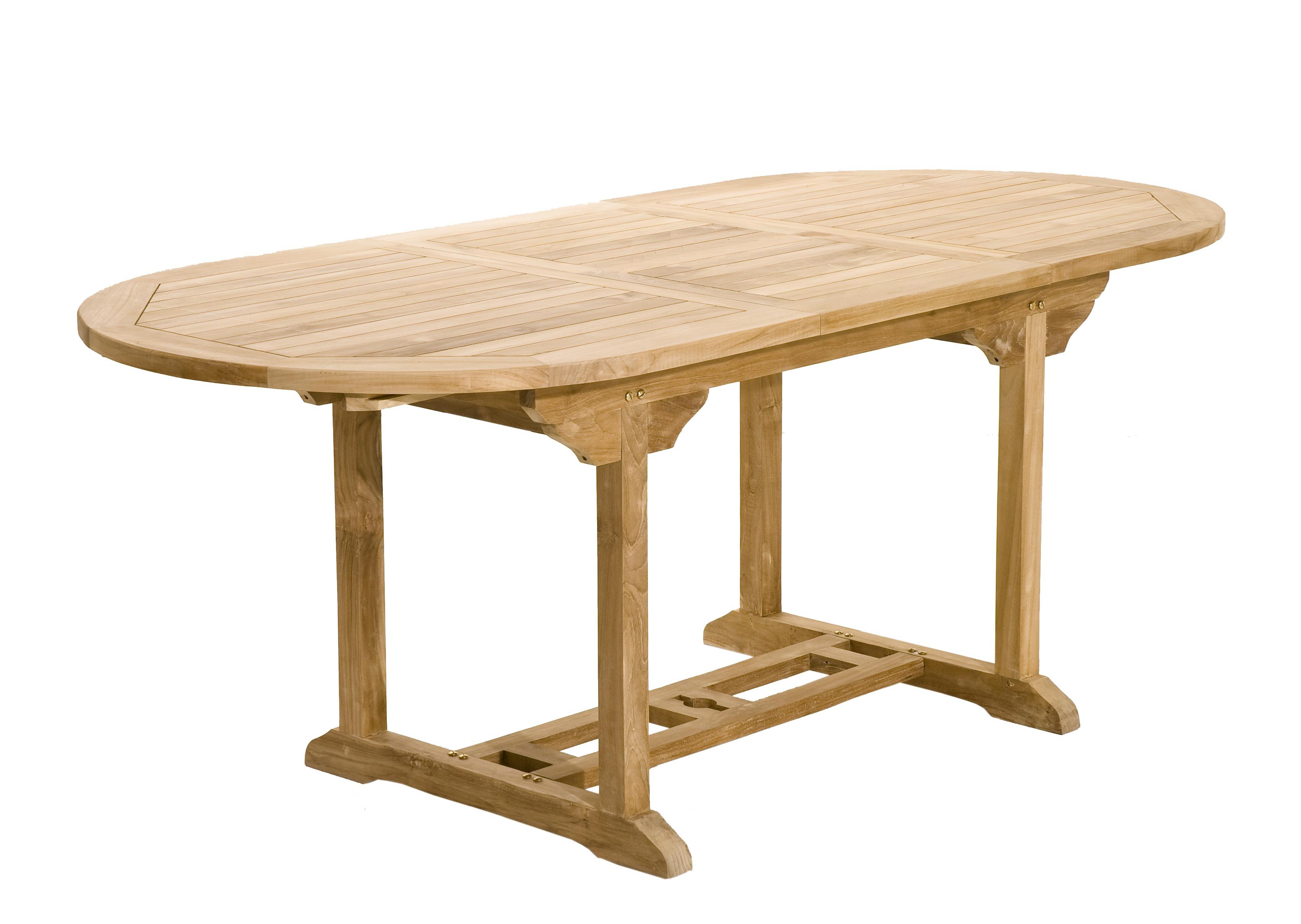 Salon jardin Teck table ovale 150/200cm 4 chaises 2 faut. SUMMER