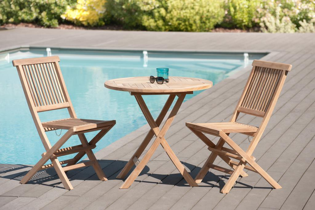 Salon de jardin en teck brut Table ronde pliante 80cm 2 ...