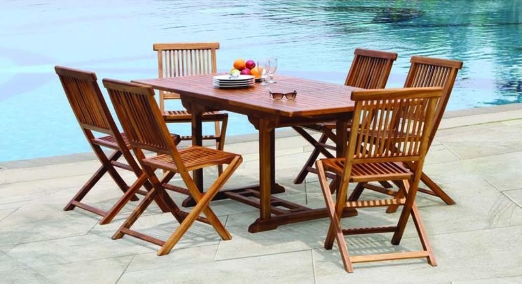 Salon de jardin en teck huilé Table rectangulaire 120/180cm 6 ...