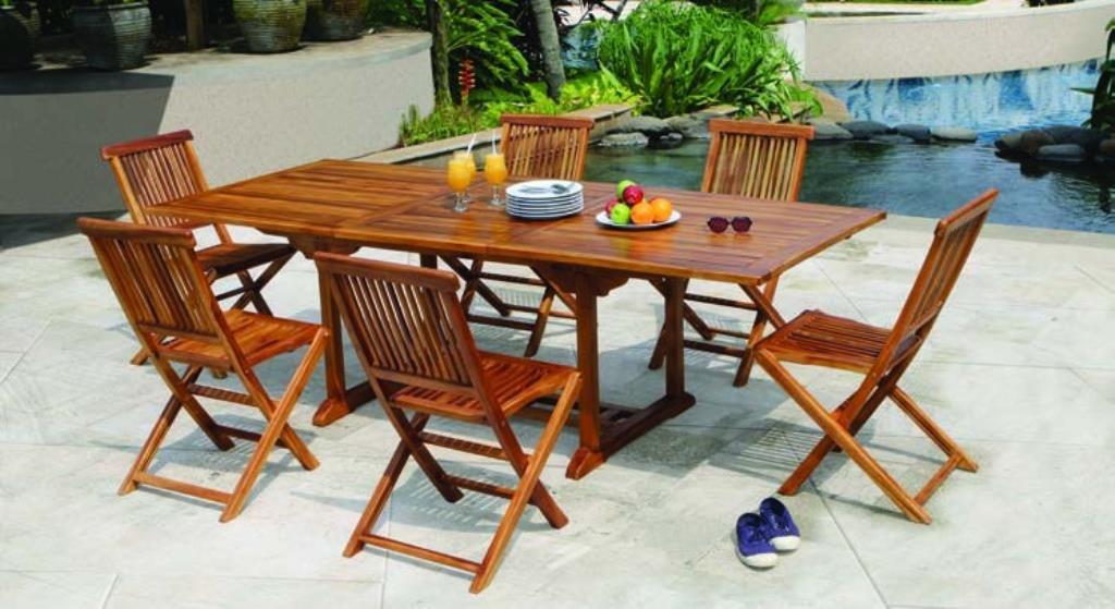 Salon de jardin en teck huilé Table rectangulaire 180/240cm 6 ...