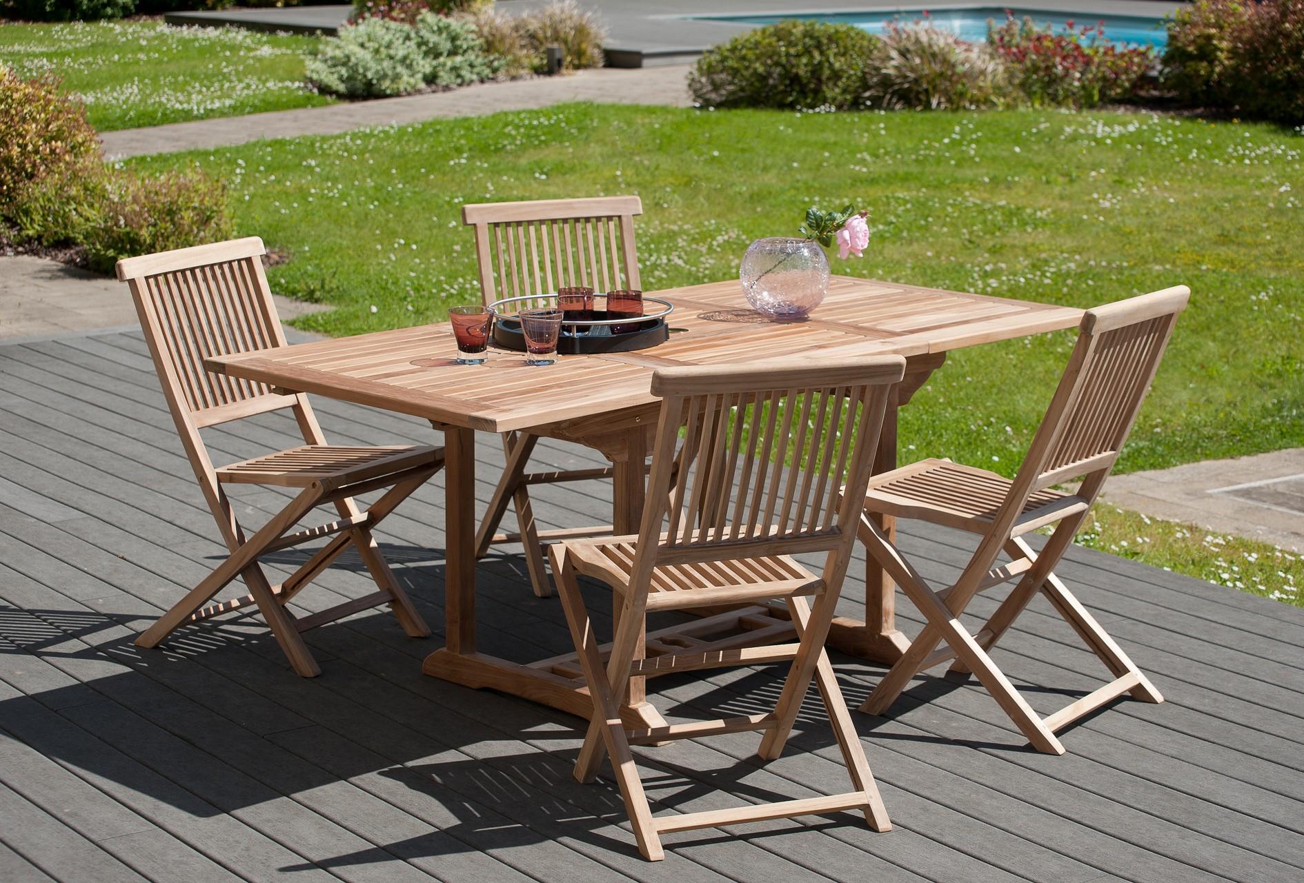 Salon de jardin en teck Table rectangle 120/180 cm et 4 chaises Java ...