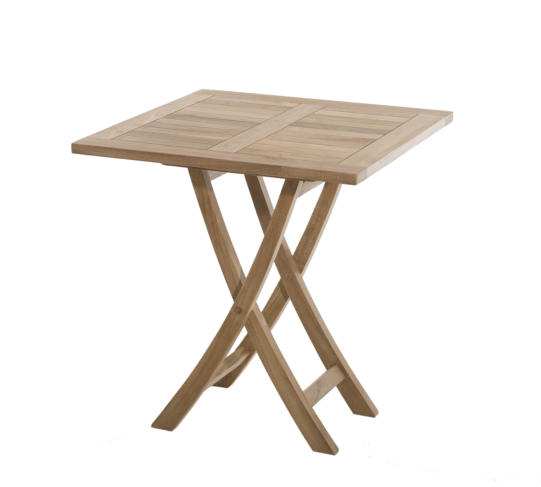 Salon de jardin en teck Table carrée pliante 70 cm et 2 chaises Java ...