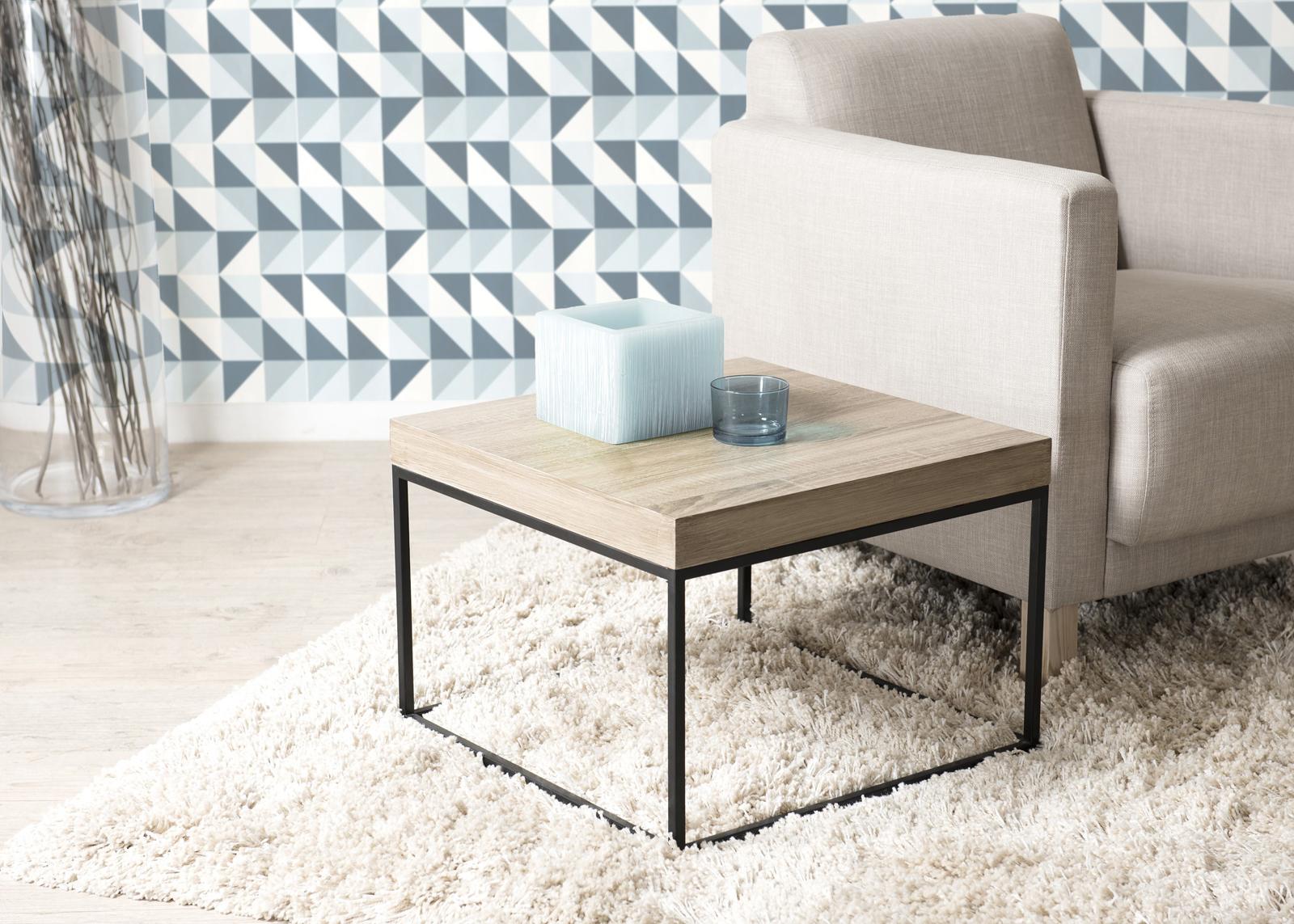 Bout De Canape Table D Appoint Cubique Industrielle Bois Et Pieds Metal Noir 50x50x36cm Lali