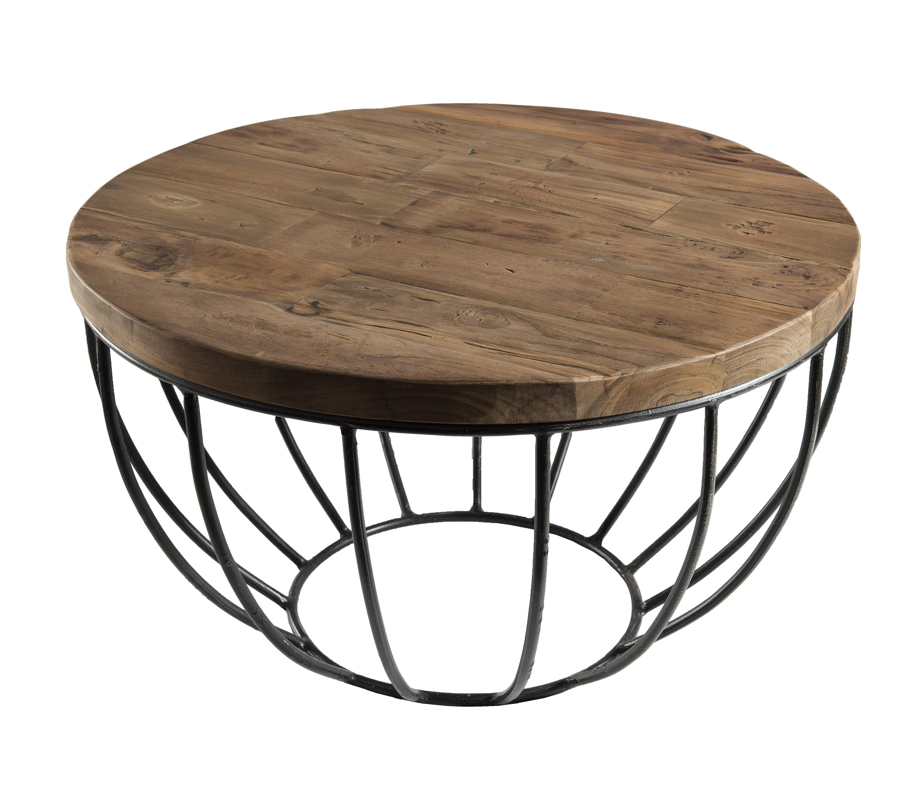 énorme réduction 688fd ab0a4 Petite table basse ronde teck recyclé structure filaire noire SWING