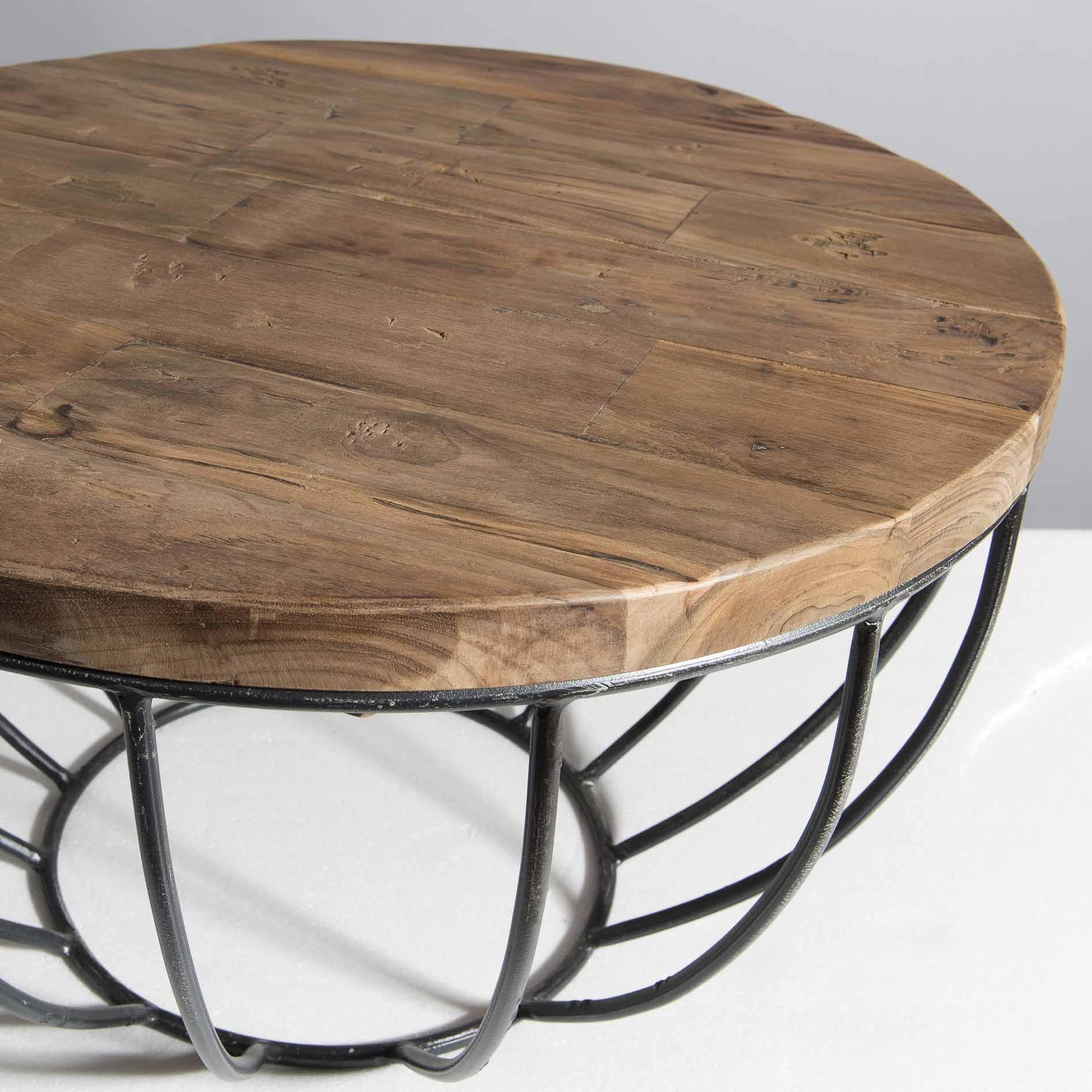 énorme réduction 57fd5 09659 Petite table basse ronde teck recyclé structure filaire noire SWING