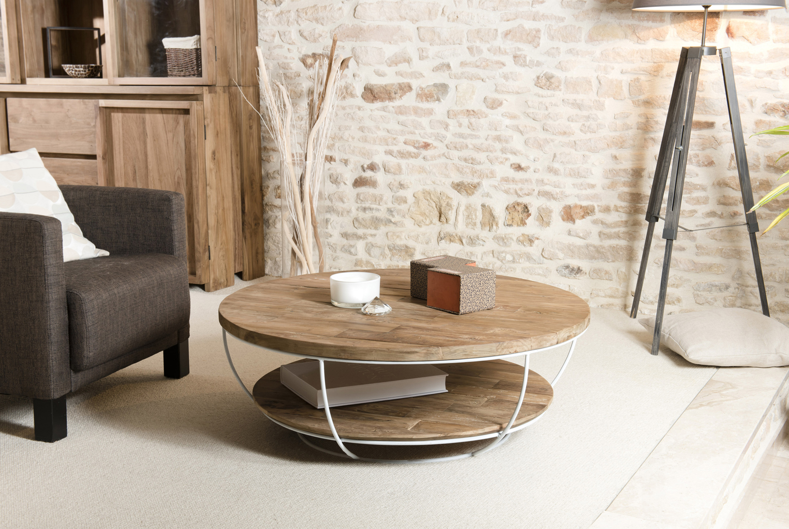 Table Basse Ronde Teck Recycle Structure Filaire Blanche 2 Plateaux
