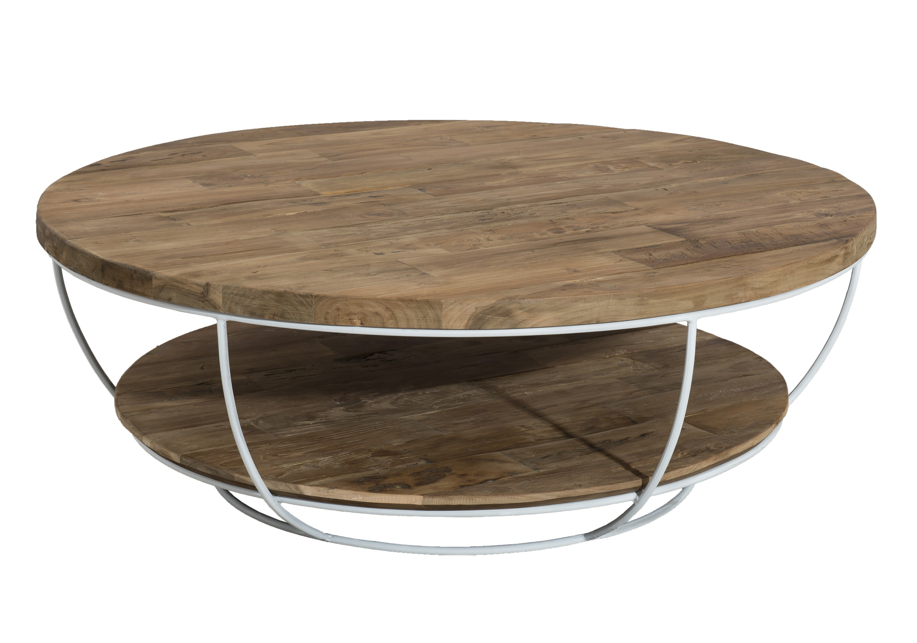 magasin d'usine 6ca26 010a0 Table basse ronde teck recyclé structure filaire blanche 2 plateaux SWING