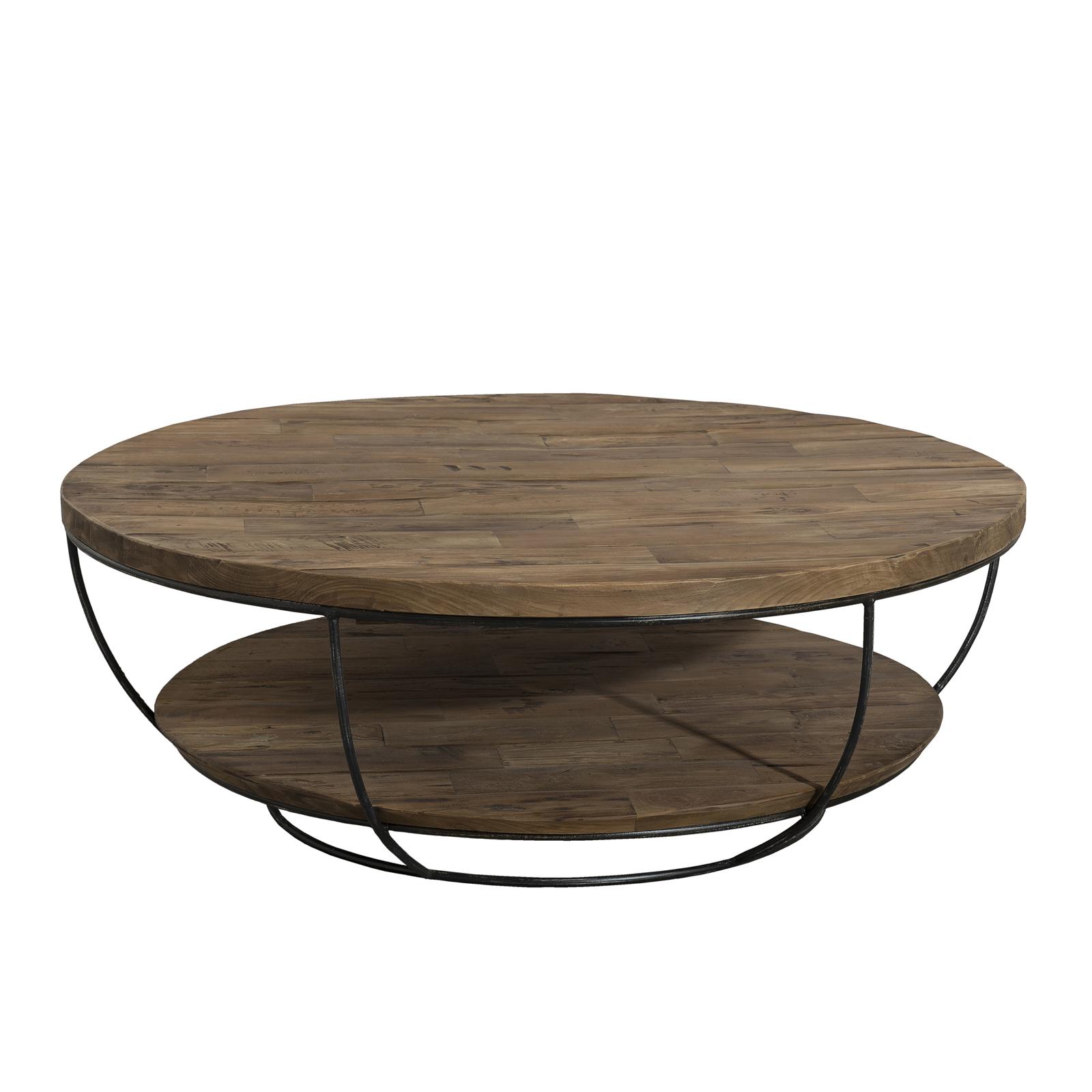 Table Teck Double Plateaux Et Métal Noir Recyclé Coque Basse Fil En BoeCxd