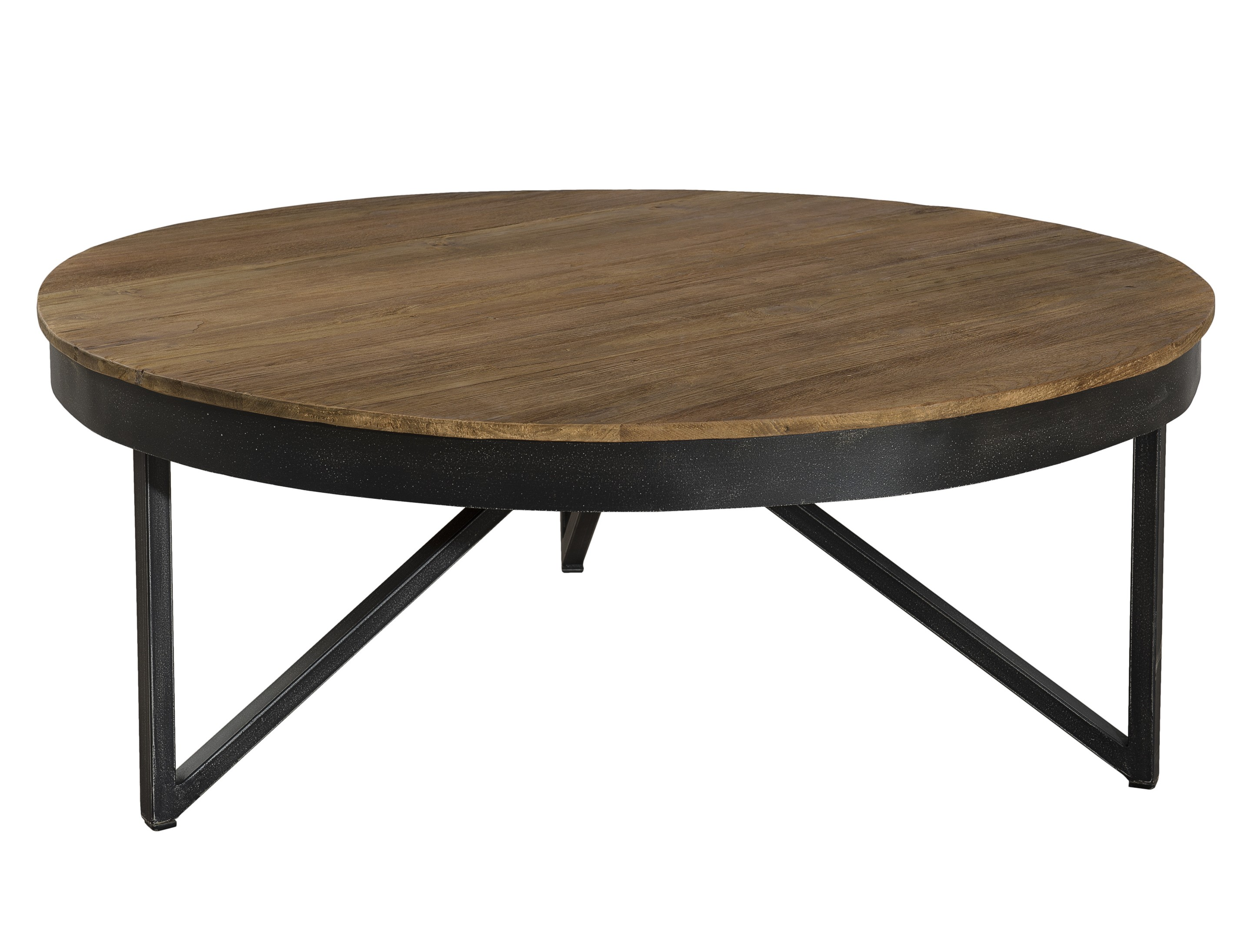 table basse ronde bois de teck recycl m tal noir grand mod le swing tables basses pier import