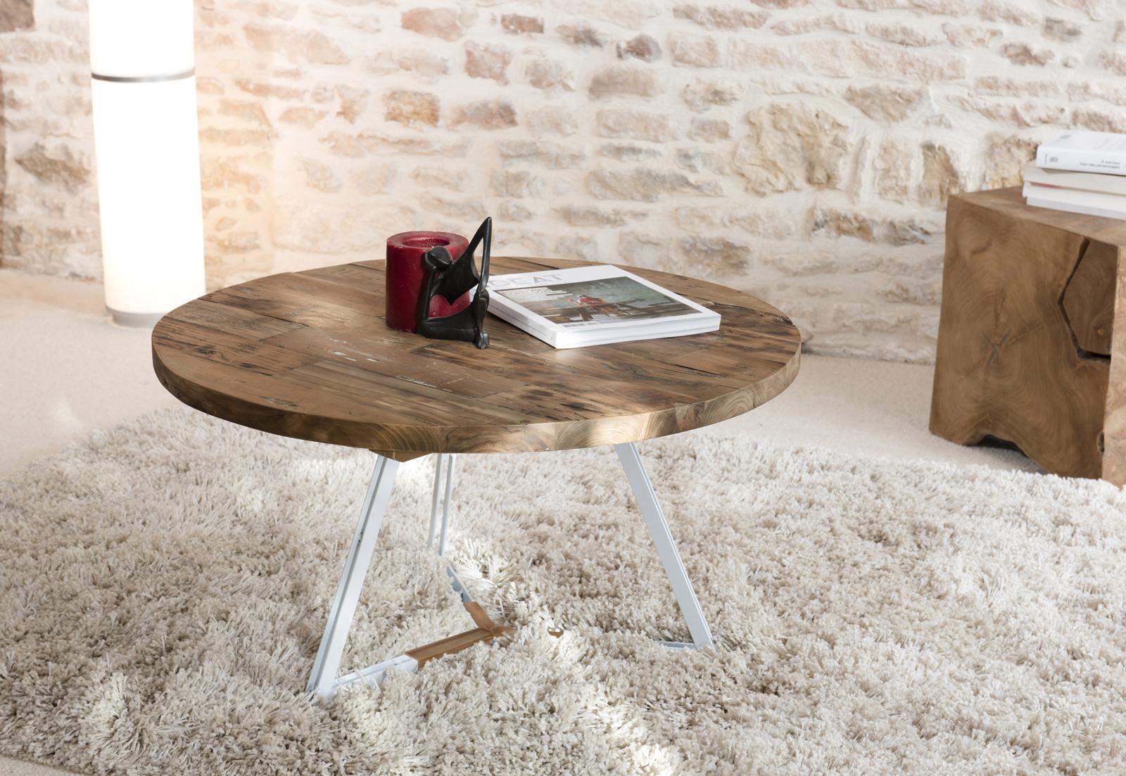 Table basse ronde en teck recycl et pieds m tal blanc et Table basse ronde bois et metal