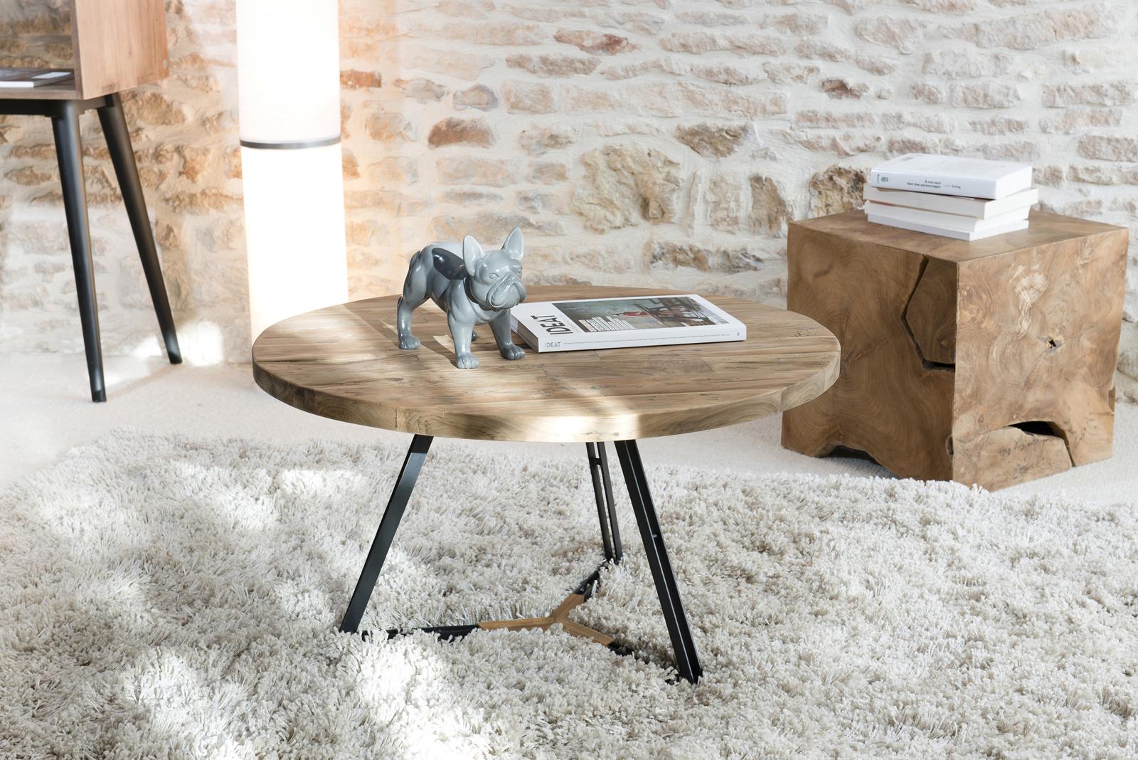 Table Basse Bois Pied Metal.Table Basse Ronde En Teck Recycle Et Pieds Metal Noir Et Bois D75xh41cm Swing