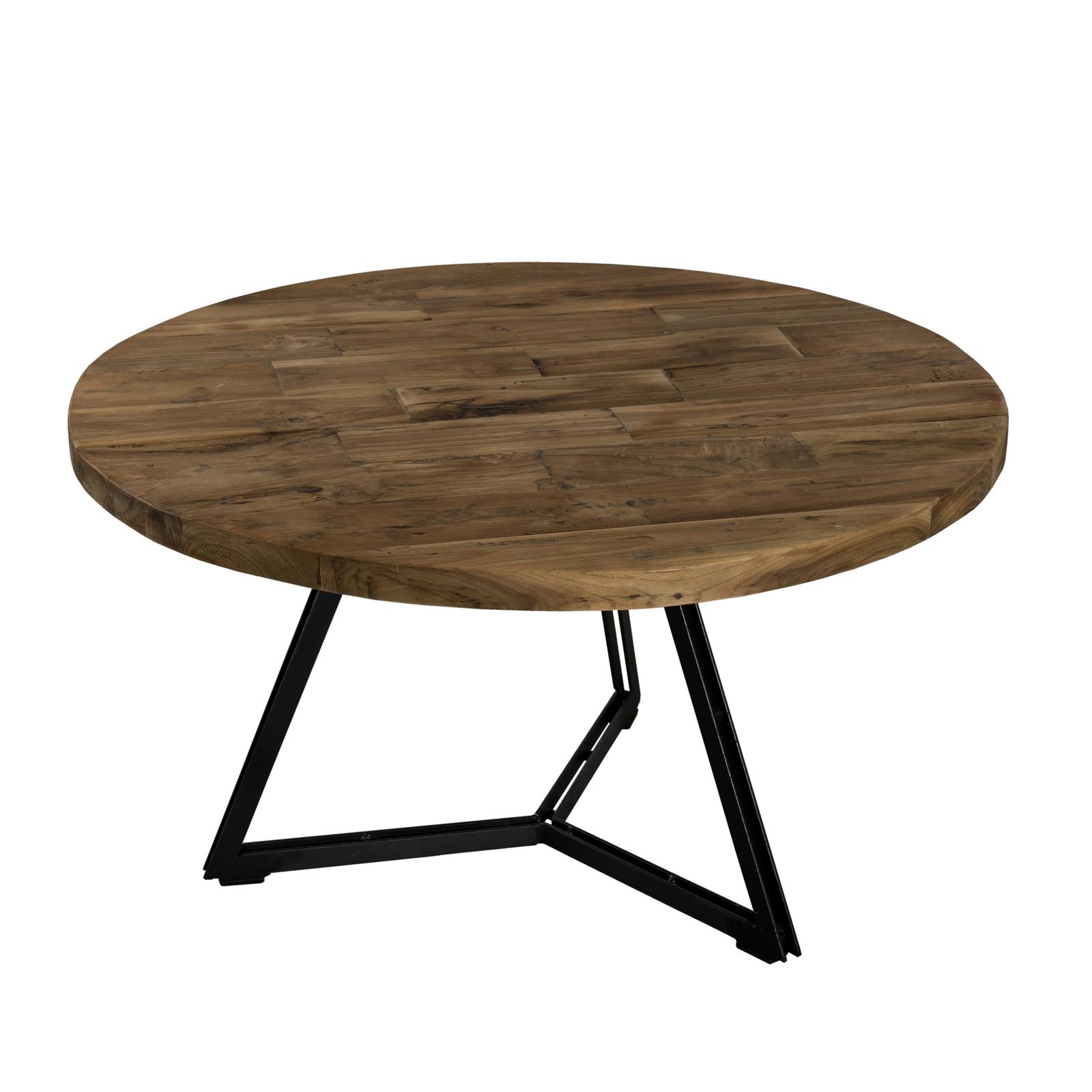 Table Basse Ronde En Teck Recycle Et Pieds Metal Noir Et Bois D75xh41cm Swing Tables Basses Pier Import