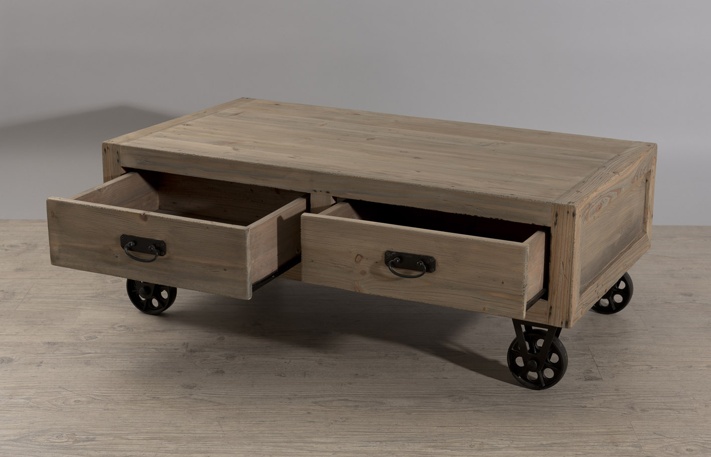Table Basse A Roulettes Metal 2 Tiroirs En Pin 110x60 5x40 5cm Atelier