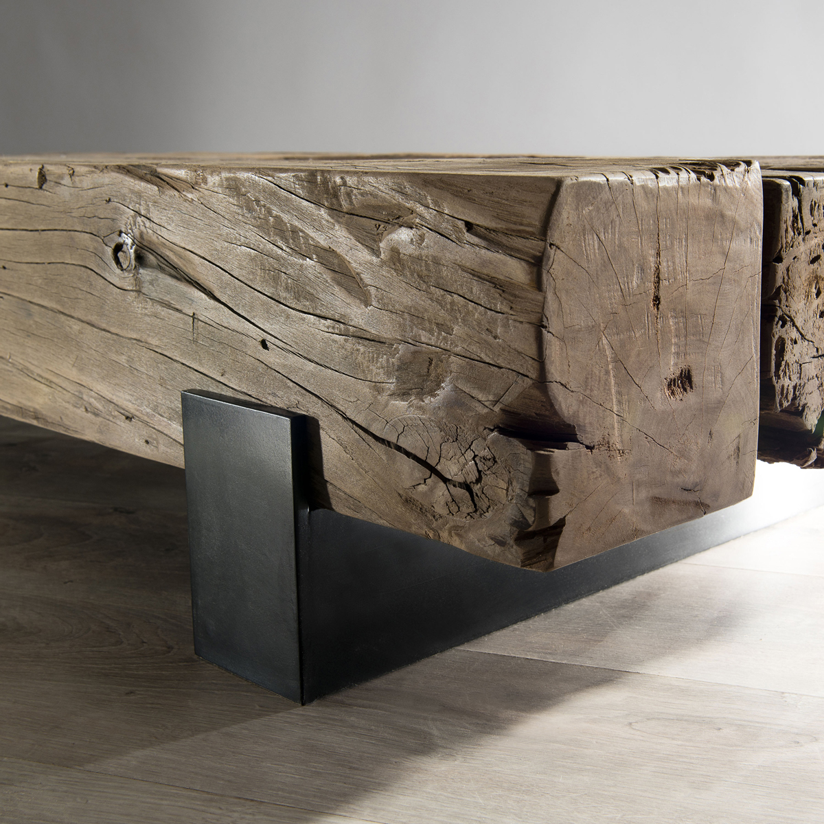 Pieds Metal Pour Table Basse.Table Basse En Teck Recycle Et Pieds Traverse Metal 160x65x26cm Matt